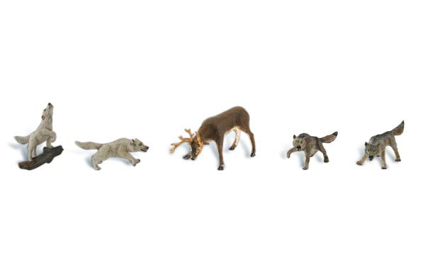 Woodland Scenics HO  Scenic Accents Widlife Standoff (4 Wolves & Buck)