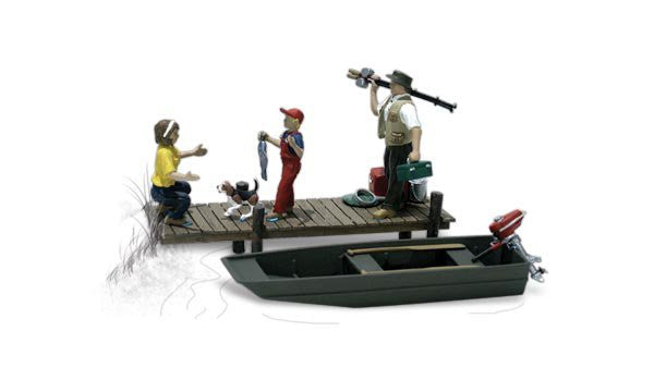 Woodland Scenics O Scenic Accents Family Fishing (3 w/Dog & Boat)