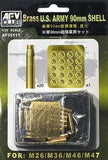 AFV Club Military 1/35 US Army 90mm Ammo Shells for M26/M36/M46/M47 (Brass)