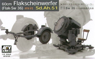 AFV Club Military 1/35 60cm Flak Sw 36 Spotlight w/SdAh51n Trailer Kit