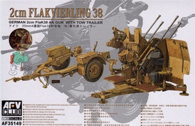 AFV Club Military 1/35 German 2cm Flak 38 Anti-Aircraft Gun w/Tow Trailer Kit
