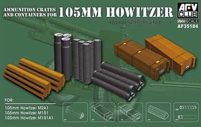 AFV Club Military 1/35 Ammo Crates & Containers for 105mm Howitzer Kit