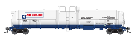 Broadway Limited HO High-Capacity Cryogenic Tank Car 2-Pack - RTR - Air Liquide (White, Blue, Red)
