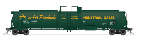 Broadway Limited HO High-Capacity Cryogenic Tank Car 2-Pack - RTR - Air Products (Green, Yellow)