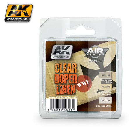 AK Interactive 	Air Series: WWI Planes Clear Doped Linen Acrylic Paint Set (3 Colors) 17ml Bottles
