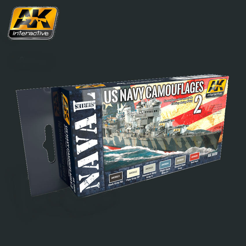 AK Interactive Naval Series: US Navy WWII Camouflage Vol.2 Acrylic Paint Set (6 Colors) 17ml Bottles