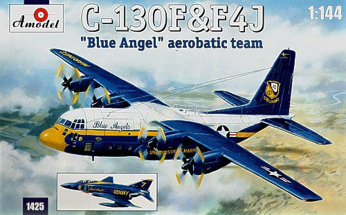 A Model From Russia 1/144 C130 Hercules & F4J Blue Angel Aerobatic Team Aircraft (2 Kits) Kit