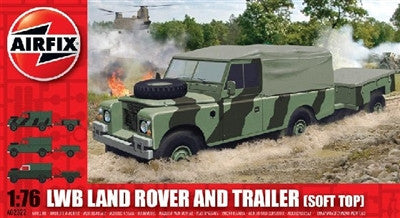 Airfix Military 1/76 LWB Soft Top Landrover w/Trailer Kit