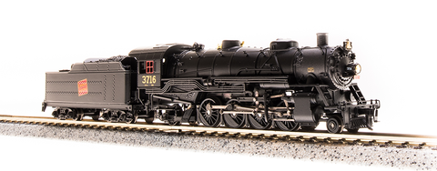 Broadway Limited N USRA 2-8-2 Heavy Mikado - Sound and DCC - Paragon3 - Canadian National 3716 (Black, Graphite, Tilted Red Square Logo)
