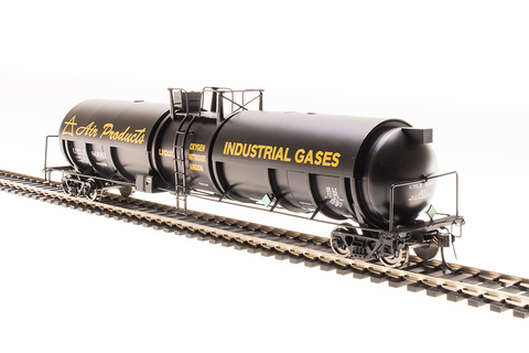 Broadway Limited N High-Capacity Cryogenic Tank Car 2-Pack - RTR - Air Products (Black, Yellow)
