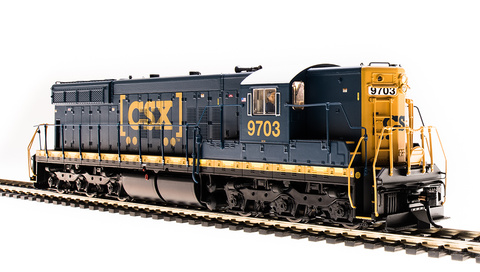 Broadway Limited HO EMD SD7 - Sound and DCC - Paragon3 - CSX 9703 (YN3 Fantasy Scheme; Blue, Yellow, White, Boxcar Logo)
