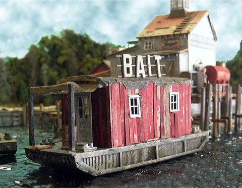 "Bar Mills HO ""Bar Mills Basics"" Bait Barge at Cundy Harbor Laser-Cut Wood Kit"