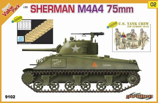 Cyber-Hobby Military 1/35 US Sherman M4A4 75mm Tank w/Crew Kit