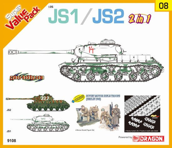 Cyber-Hobby Military 1/35 JS1/2 Tank w/Motor Rifle Troop Berlin 1945 (2 in 1) Kit