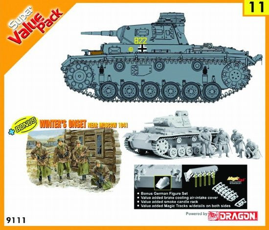Cyber-Hobby Military 1/35 PzKpfw III Ausf E/F Tank w/Crew Winter Dress (2 in 1) Kit