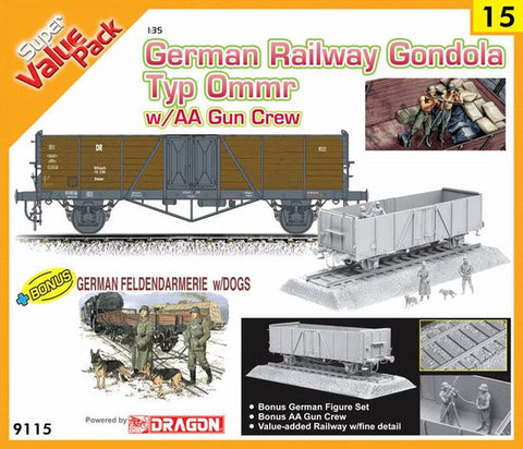 Cyber-Hobby Military 1/35 German Type Ommr Gondola Car w/AA Gun Crew Kit
