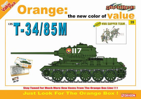 Cyber-Hobby Military 1/35 1/35 T34/85M Tank w/NVA Sapper Team Kit