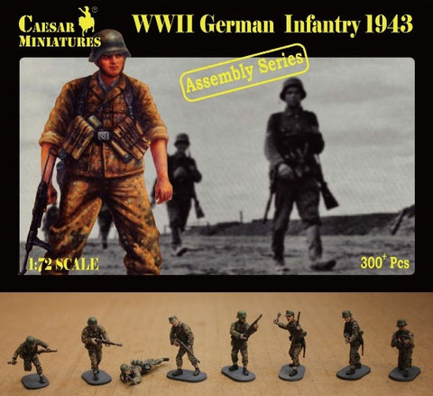 Caesar Miniatures 1/72  WWII German Infantry 1943 (16 multi-posed figs) (Kit)
