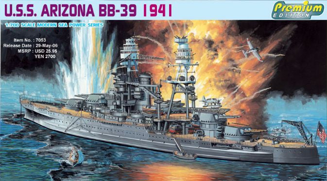 Dragon Model Ships 1/700 USS Arizona BB39 Battleship 1941 Premium Edition Kit