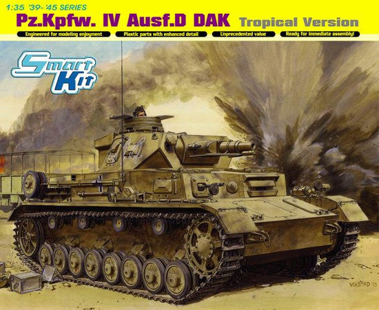 Dragon Military Models 1/35 PzKpfw IV Ausf D DAK Tank Tropical Version Smart Kit