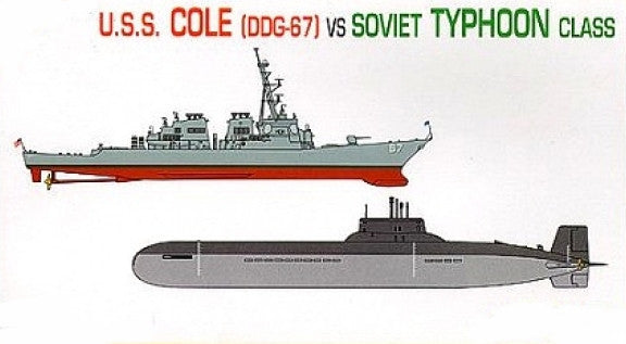 Dragon Model Ships 1/700 USS Cole Destroyer & Soviet Typhoon Class Submarine Kit