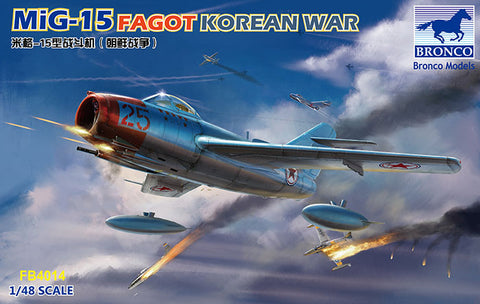 Bronco Aircraft 1/48 MiG15 Fagot Fighter Jet Korean War (New Tool) Kit