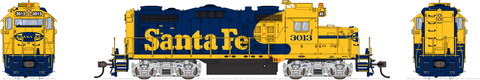Broadway Limited HO EMD GP20 w/Sound & DCC - Paragon3 - Santa Fe #3015 (Warbonnet, Blue, Vellow)