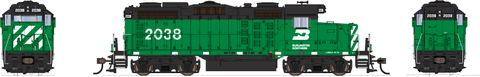 Broadway Limited HO EMD GP20 w/Sound & DCC - Paragon3 - Burlington Northern #2038 (Cascade Green, Black, White)