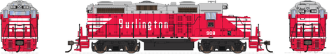 Broadway Limited HO EMD GP20 w/Sound & DCC - Paragon3 - Chicago, Burlington & Quincy #908 (Chinese Red, Gray, White)