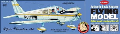 "Guillows 1/20 (20"") Wingspan Piper Cherokee 140 Laser Cut Kit"