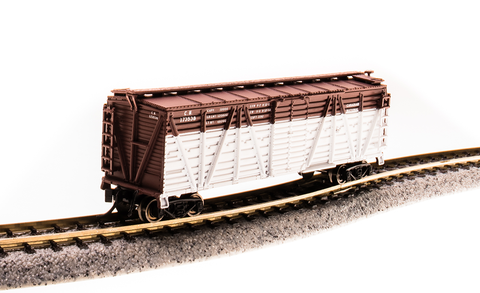Broadway Limited N PRR K7 Stock Car with Cattle Sounds - Ready to Run - PRR K7 Stock Car with Cattle Sounds - Ready to Run - Canadian National (Boxcar Red, White)