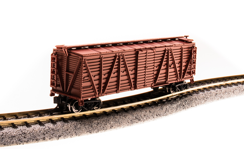 Broadway Limited N PRR K7 Stock Car with Chicken Sounds - Ready to Run - Painted, Unlettered (Oxide Red)