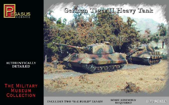 Pegasus Military 1/72 German Tiger II Heavy Tank (2) Snap Kit