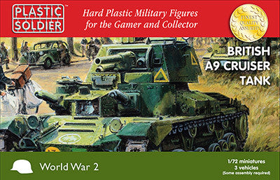 Plastic Soldier 1/72 WWII British A9 Cruiser Tank (3) & Crew (6) Kit