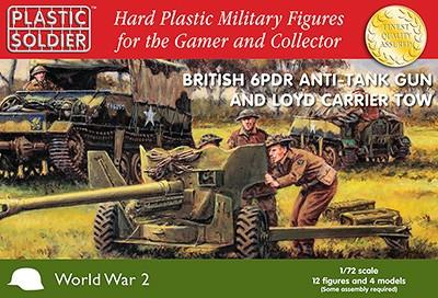Plastic Soldier 1/72 WWII British 6-Pdr Anti-Tank Gun w/Loyd Carrier Tow (2) & Crew (12) Kit