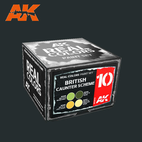 AK Interactive 	Real Colors: British Counter Scheme Acrylic Lacquer Paint Set (4) 10ml Bottles