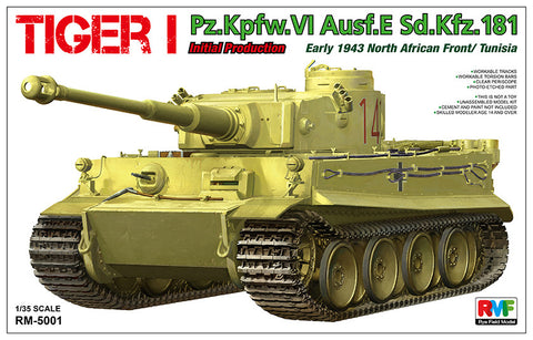 Rye Field Models 1/35 Tiger I PzKpfw VI Ausf E SdKfz 181 Initial Production Tank Early 1943 N. African Front/Tunisia Kit