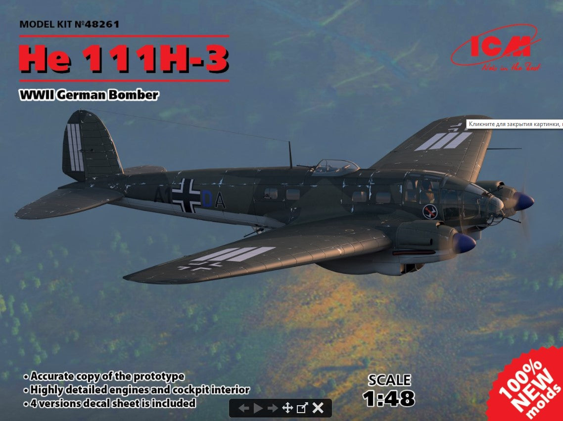 ICM Aircraft 1/48 WWII German He111H3 Bomber (New Tool) Kit