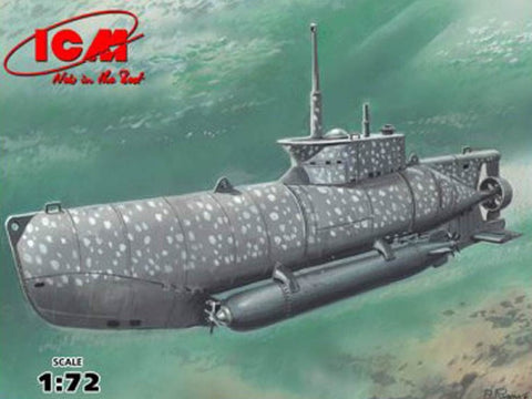 ICM Model Ships 1/72 WWII German U-Boat Type XXVIIB Seehund (Early) Midget Submarine Kit