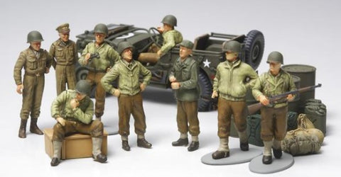 Tamiya Military 1/48 WWII US Infantry at Rest (9) & Jeep Kit