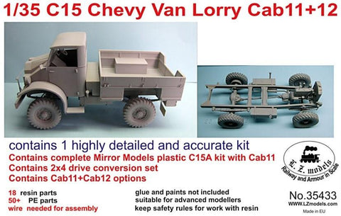LZ Models 1/35 C15 Cab 13 Chevy Van Lorry Flatbed Truck Kit
