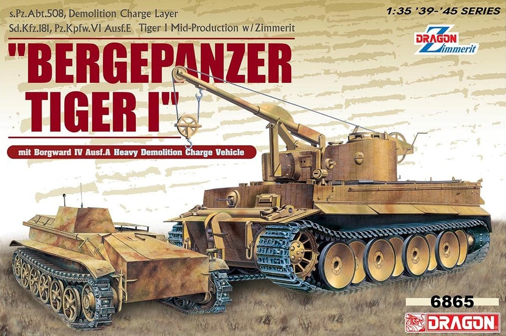 Dragon Military Models 1/35 Bergepanzer Tiger I, s.Pz.Abt.508 Demolition Charge Layer mit Borgward IV Ausf.A Heavy Demolition Charge Vehicle Kit