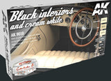 AK Interactive Cars & Civil Vehicles Series: Black & Cream White Interiors Acrylic Paint Set (6 Colors) 17ml Bottles