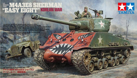 "Tamiya Military 1/35 U.S. Medium Tank M4A3E8 Sherman ""Easy Eight"" Korean War Kit"