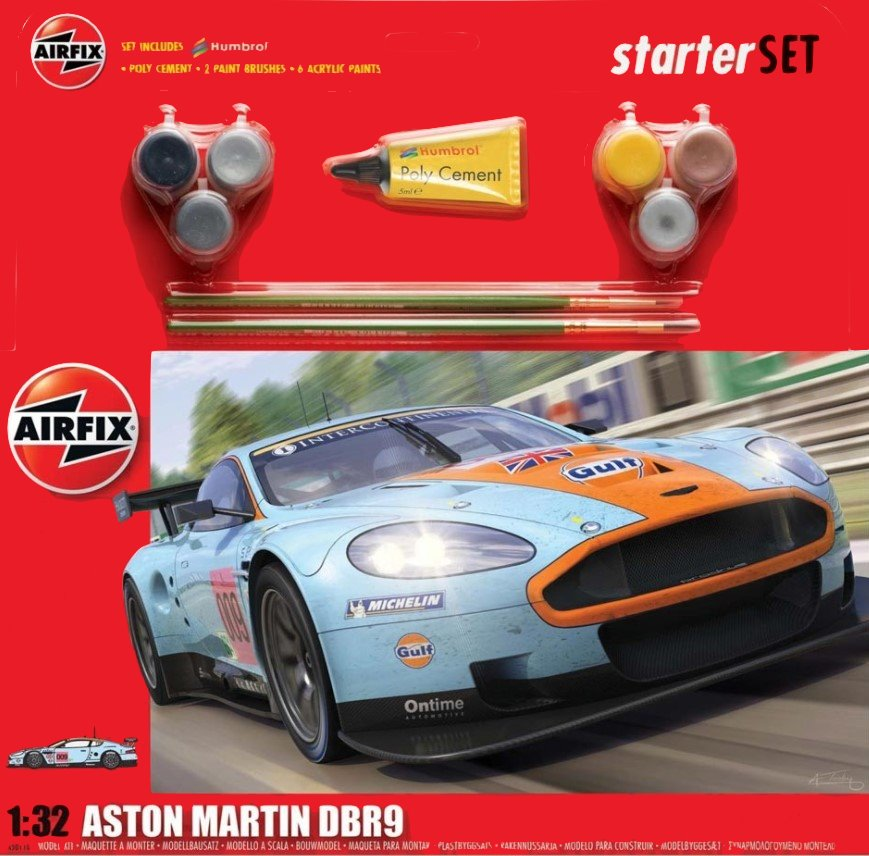 Airfix Car Models 1/32 Aston Martin DBR9 Gulf Race Car Large Starter Set w/Paint & Glue