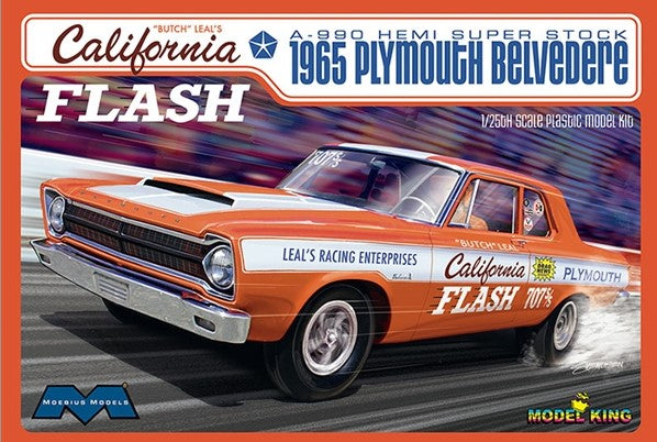 Moebius Model Cars 1/25 Butch Leal's California Flash 1965 Plymouth Belvedere A990 Hemi Super Stock Drag Car Ltd. Prod. Kit