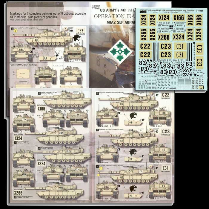 Echelon Decals 1/35 US 4th Inf Div M1A2 Abrams Pt2