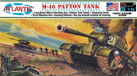 Atlantis Military 1/48 US M46 Patton Tank Kit (Formerly Aurora)