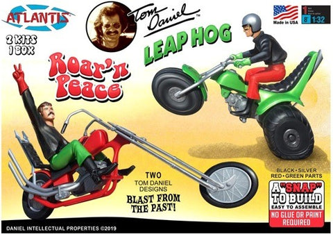 Atlantis Cars 1/32 Tom Daniel's Roar' N Peace Motorcycle & Leap Hog 3-Wheeler Kit (Formerly Monogram)