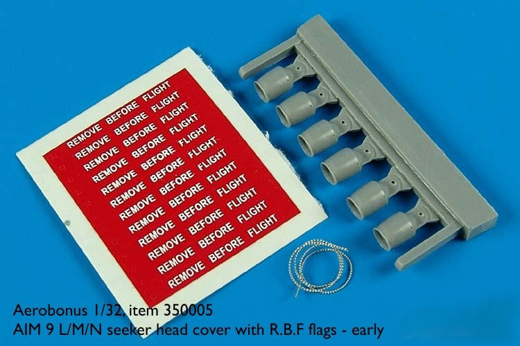 Aerobonus Details 1/32 AIM9 L/M/N Seeker Head Cover Late w/RBF Flags